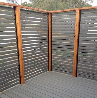 Horizontal plastic wood composite screening
